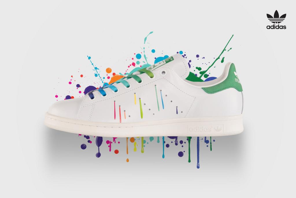 adidas schoenen met verfspatten