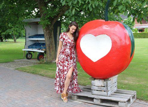 romwe mom dress maxi dress apple appel rood